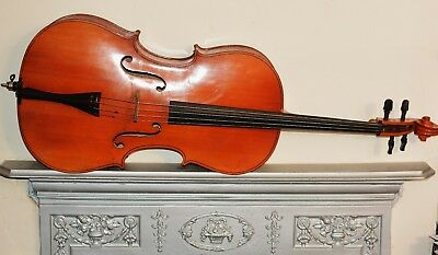 vintage large 3/4 near 7/8 cello Mittenwald, solid back n sides hard case + bow