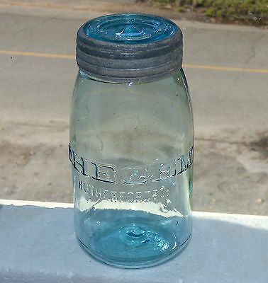 Antique quart size Rutherford & Co / THE GEM fruit canning jar FREE SHIPPING!
