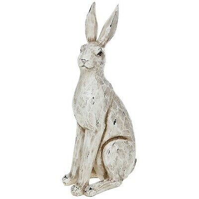 Large Hare Ornament / Sculpture - Rustic White