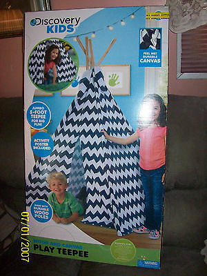 New Discovery Kids Teepee Tent Play House Hut Indian Tepee Wood Canvas Tipee
