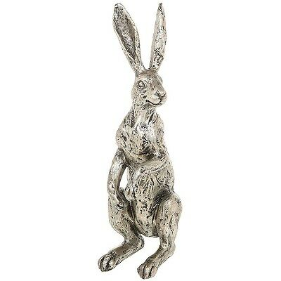 Lovely Standing Hare Ornament / Sculpture - Rustic Silver