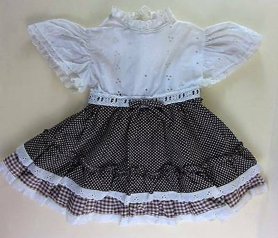 Little girls vintage dress broderie anglaise gingham bo ho mini hippie 18 months