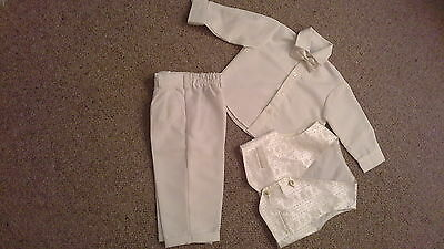 Childs Cream 4 Piece Suit - Trousers, Shirt, Waistcoat And Dickie Bow - 9-12 Mth