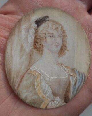 19TH CENTURY c1850 MINIATURE PORTRAIT CONTINENTAL / FRENCH? LADY FEATHERED HAT