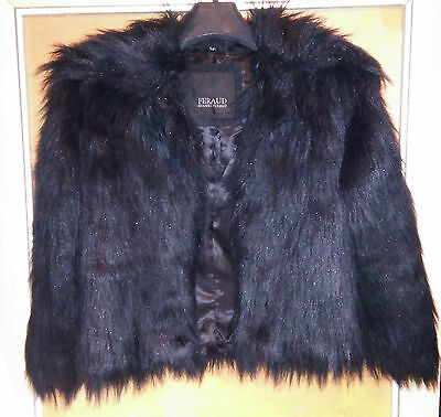 Gorgeous Gianni Feraud Black/Navy Faux Fur Girl's Jacket Size 9-10 Years .
