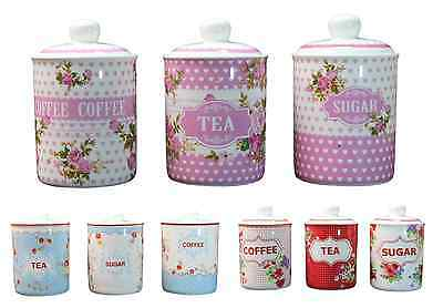 Tea Coffee Sugar Canisters Floral Shabby Chic Vintage Style Present Sealed Jars