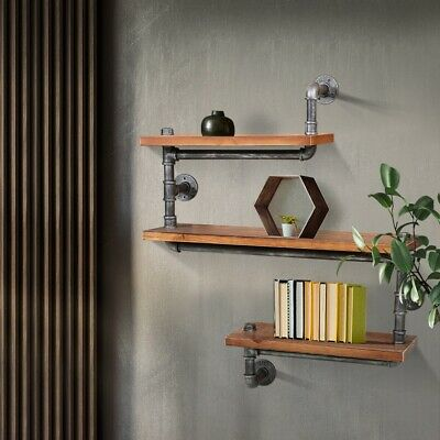 Wall Floating Shelf Metal Pipe And Timber Art Decor Display Home office Rustic