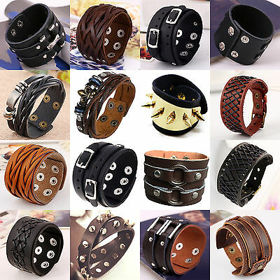 Punk Cool Men Womens Wide Genuine Leather Belt Bracelet Cuff Wristband Bangle NT