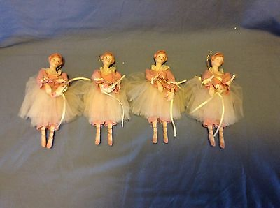 4 Rare Vintage Porcelain Ballerina Doll Ornaments Old and very detailed.