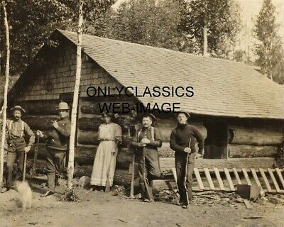 1907 American Frontier 8X10 Photo Winchester Rifles Log Cabin Western Cowboys