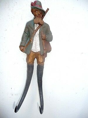 BLACK FOREST FIGURAL CARVED WALL WHIP HOOK HUNTER with GENUINE CHAMOIS HORNS