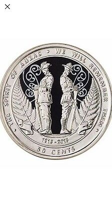 1x UNC 2015 New Zealand Anzac Coin