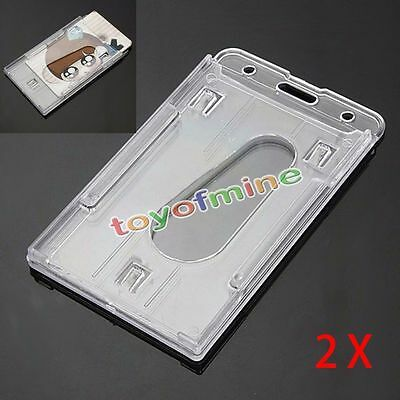 2Pcs Vertical Hard Plastic ID Badge Holder Double Card Multi Transparent Clear