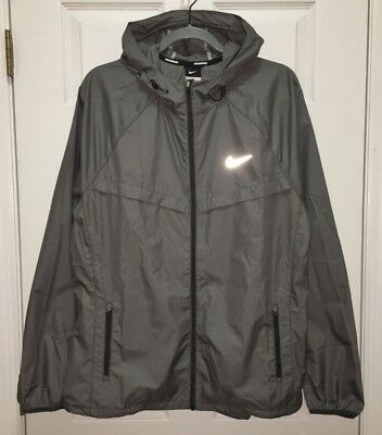 NIKE Racer Reflective Grey Black White Zip Front L/S Running Jacket NEW Mens L
