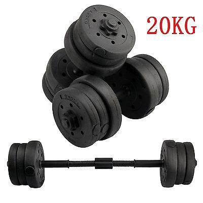 20KG Dumbbells Set Dumbells Weights Home Gym Fitness Training Biceps Barbell Bar