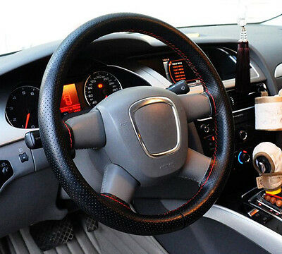 Black DIY Car Steering Wheel Cover With Needles and Red Thread Dermis 36cm