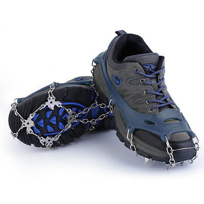 18 Teeth Non-Slip Snow Ice Crampons Shoes Chain Cleat For Hiking Climbing ZC