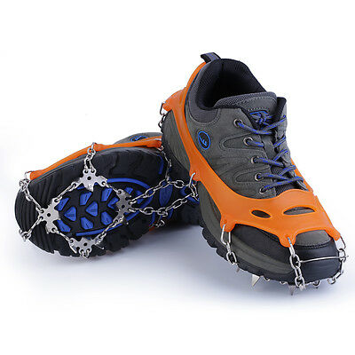 18 Teeth Non-Slip Snow Ice Crampons Shoes Chain Cleat For Hiking Climbing ZC1