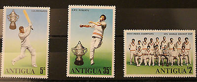 Antigua 1975 World Cup Cricket Champions Set MNH sg466-468