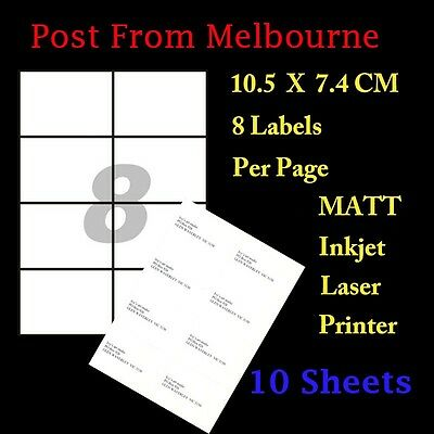 10 X A4 White Matte 8/Page 2x4 Self Adhesive Labels Mailing Address Stickers