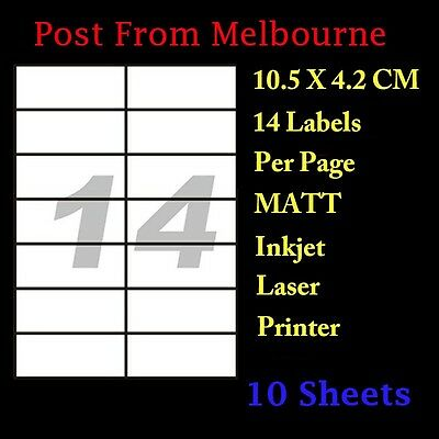 10X A4 White Matte 14 Per Page 2x7 Self Adhesive Sticker Mailing Address Labels