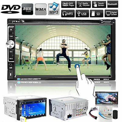 """Double 2 Din 7""""Car DVD TF MP3 Player Touch Screen In Dash Stereo Radio Bluetooth"""