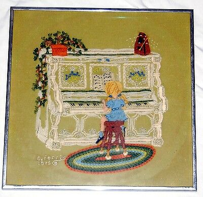 Vintage Crewel Sewing Art Girl Playing Piano Floral Olive Blue White Framed