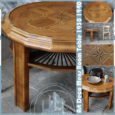 Loft Vintage Art Deco Mens Room Table Intarsien Tisch 1930`40 Bauhaus Ère German