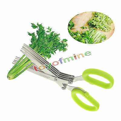 5 Shears Blade Cut Shredding Scissors Sharp Herb Kitchen Tool Stainless Steel GH