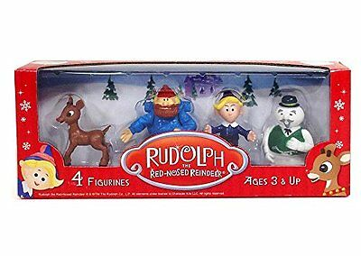 Rudolph The Red Nose Reindeer 4 Figure Set Play Toy New