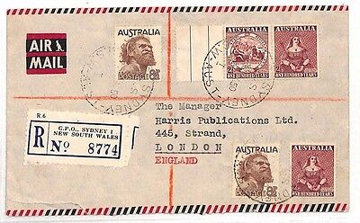 AS26 1950 AUSTRALIA NSW Sydney GPO to GB London Registered Airmail Cover