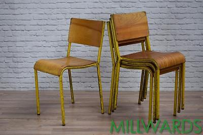 Vintage Industrial Yellow School Stacking Cafe Bar Chairs 75 AVAILABLE inc VAT • £40.00