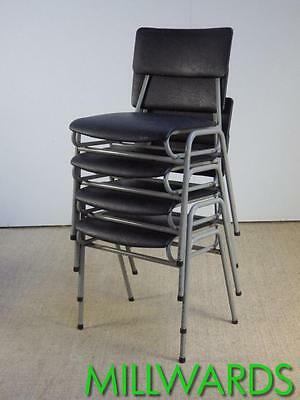 FREE DELIVERY Set of 4 Vintage Stacking Industrial Remploy School Cafe Chairs