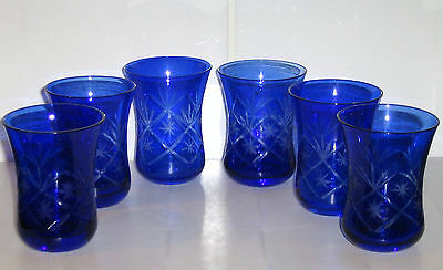 6 x Bohemian Cobolt Blue Cut to Clear Small Glass Waisted Tumblers