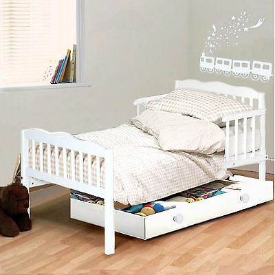 New 4Baby White Sara Junior Toddler Bed With Sprung Deluxe Mattress
