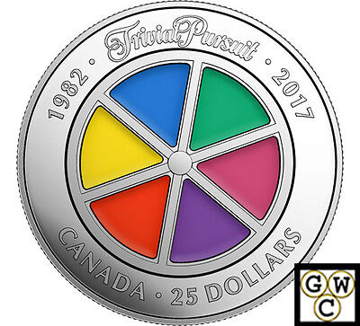 2017'35th Ann.of Trivial Pursuit Enameled Piedfort Prf $25.9999Silver(NT)(17926)