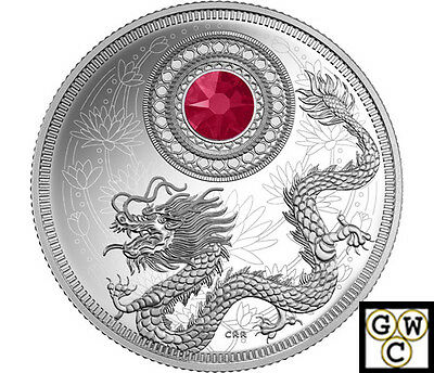 2016 July-Birthstones Crystal Proof $5 Silver Coin 1/4oz .9999 Fine(NT)(17700)