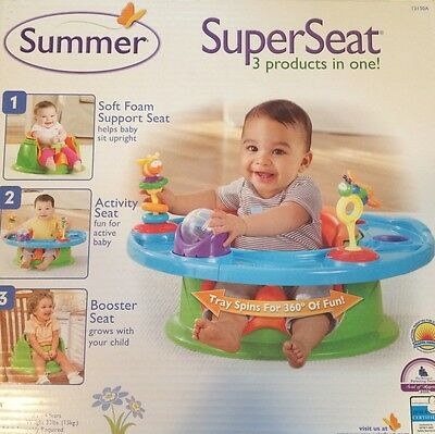Summer Infant 3-In-1 Deluxe Super Foam Support Activity & Booster Seat EUC Toys