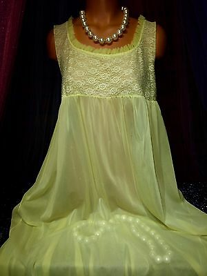 Vintage Sheer Long Chiffon Lace Nylon Yellow Peignoir Sweep Gown L Bust 34 36 38