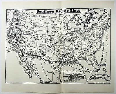 Original 1941 Southern Pacific Lines Railroad System Map