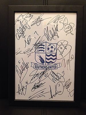 Southend United X19 NEW 2016/17 Season Hand Signed Framed A4 Autograph Sheet
