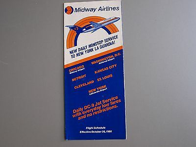 Midway Airlines Daily DC-9 Jet Service Flight Schedule Effective Oct 26, 1980