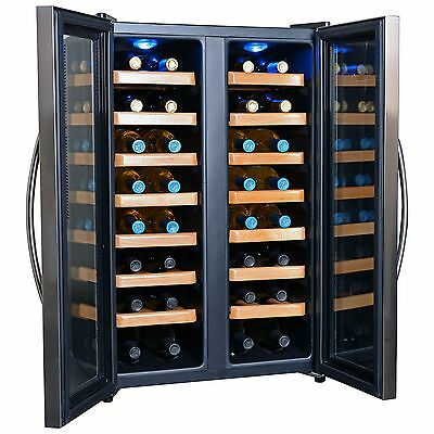 NewAir 32-Bottle Stainless Steel Dual-Zone Wine Cooler NEW