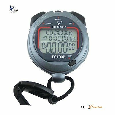 NEW waterproof 3 Row Display 100 split recallable Swimming stopwatch Timer Pacer