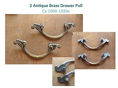 2 ANTIQUE BRASS DRAWER PULLS - 1900-1920s