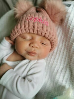 Personalised DOUBLE GREY/PINK/white big pom pom Baby Girls Boys Hat Newborn