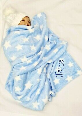 personalised  embroidered STAR  supersoft luxury  BABY BLANKET  SOFT & cosy