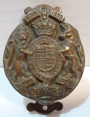 Old United Kingdom Coat of Arm Interior Door Knocker small decorative brass brnz