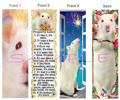 3 Set- White RAT BOOKMARK Pet Rules ART Book Mark Card Figurine Ornament-no cage