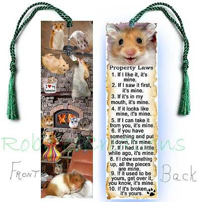 HAMSTER Large Book BOOKMARK Tassel Pet RULES Property Law Art CARD Black Brown